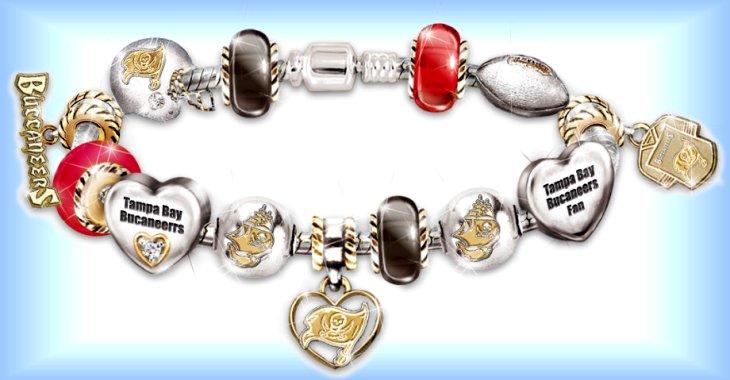 NFL Tampa Bay Buccaneers Charm Bracelet: Go Buccaneers! #1 Fan