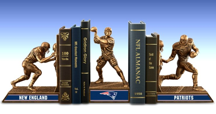 Limited Edition New England Patriots Legacy Cold-Cast Bronze Bookends Collection
