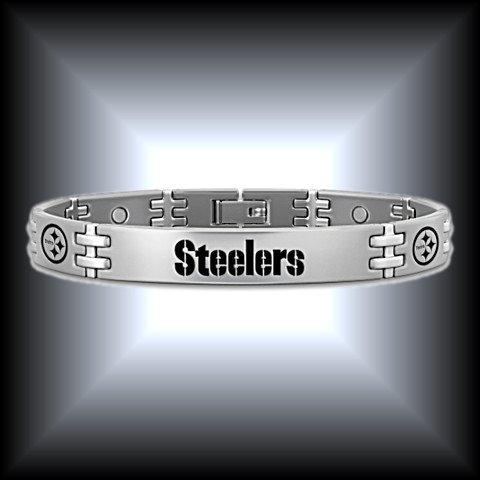 NFL Pittsburgh Steelers Men's Titanium Bracelet: Steelers Strong!