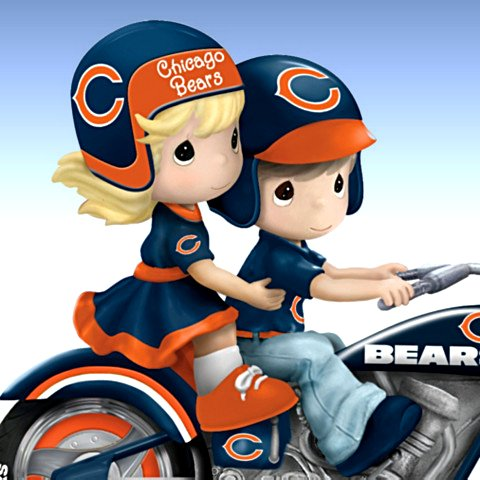 Precious Moments Chicago Bears Mortorcycle Figurine Detail