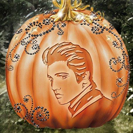 Elvis Halloween Pumpkin Sculpture