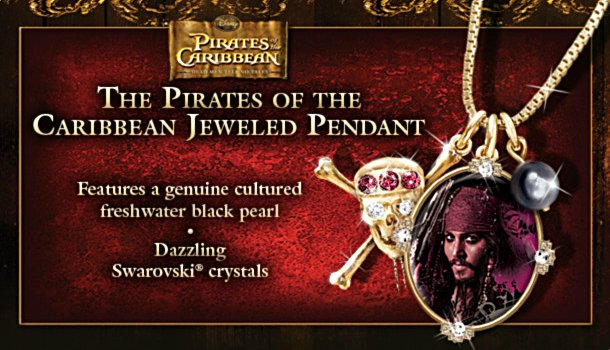 Pirates Of The Caribbean Jeweled Pendant Necklace Featuring Captain Jack Sparrow