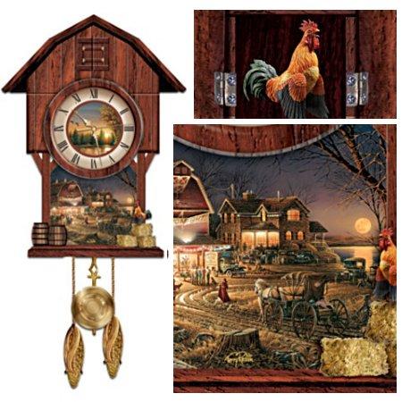Terry Redlin 'Harvest Moon Ball' Cuckoo Clock
