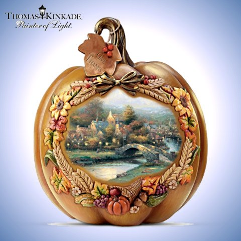 Thomas Kinkade Give Thanks Lighted Pumpkin Table Centerpiece