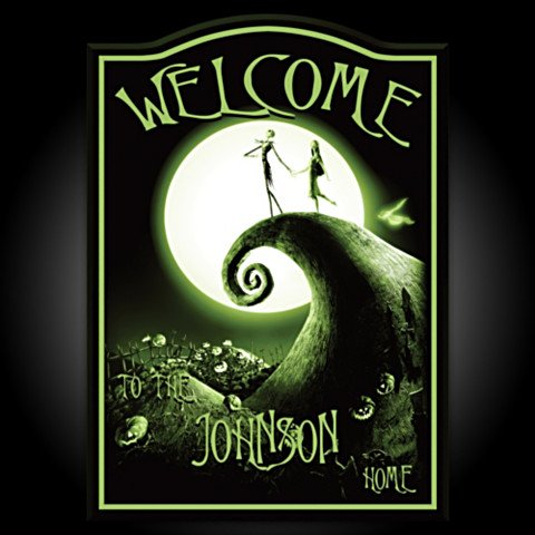 Tim Burton's The Nightmare Before Christmas Personalized Welcome Sign - Dark