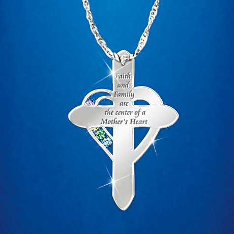 Diamond and Birthstone Personalized Pendant Necklace: A Mother's Faith and Family - back