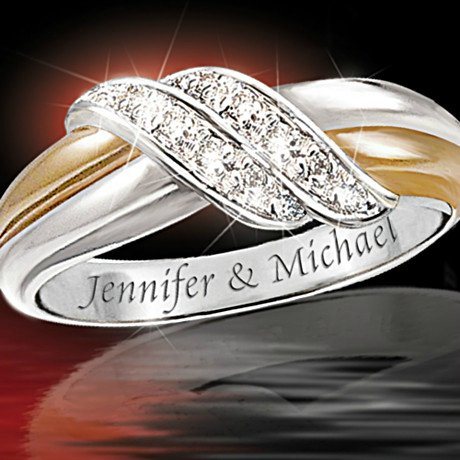 Personalized Engraved S Diamond Ring Embrace