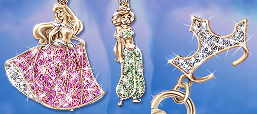 Disney Princess Charm Bracelet With Swarovski Crystals - details