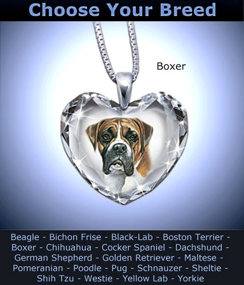 Heart-Shaped Crystal Dog Pendant Necklace: Close To My Heart - Boxer