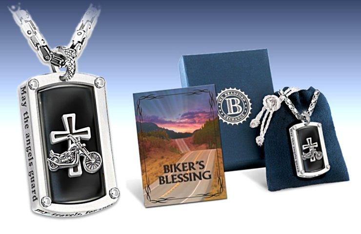 Dog Tag Pendant Necklace: Biker's Blessing