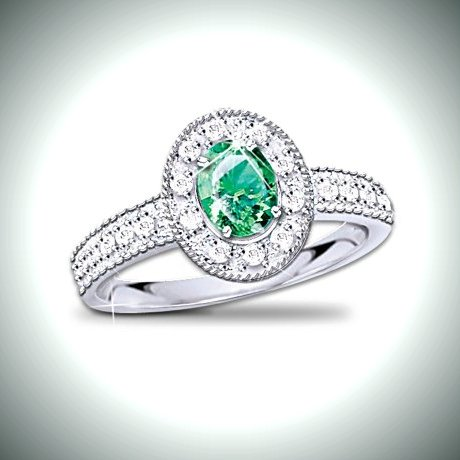 Women's Diamond And Emerald Ring: Legend Of The Emerald
