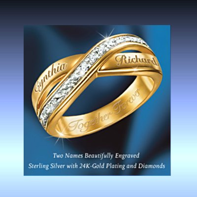 Eternity Personalized Double Band Diamond Ring: Romantic Jewelry Gift