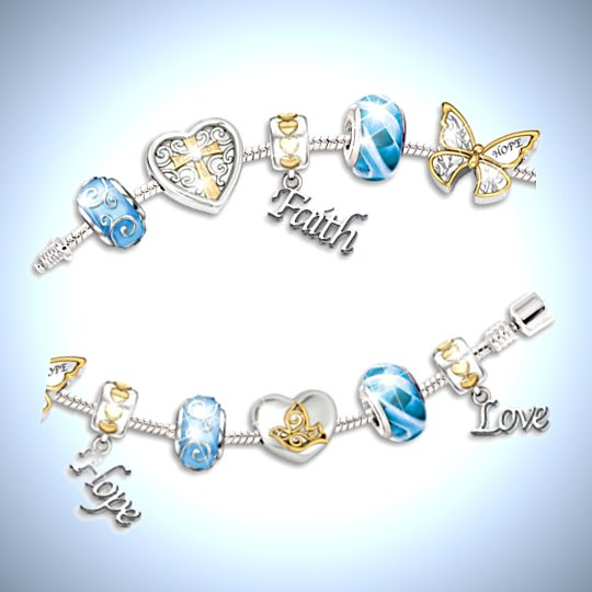 Faith, Hope And Love Beaded Diamond Charm Bracelet - detail