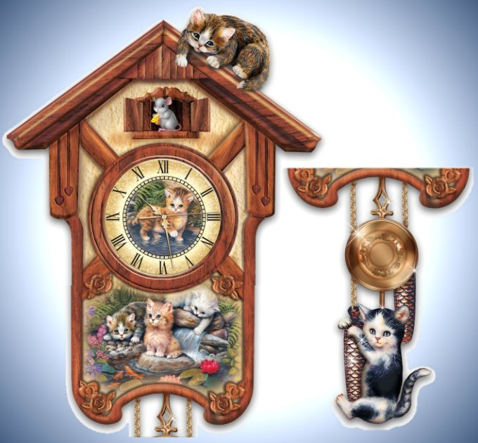 Happy Trails Cuckoo Clock With Kitten Art By Jurgen Scholz
