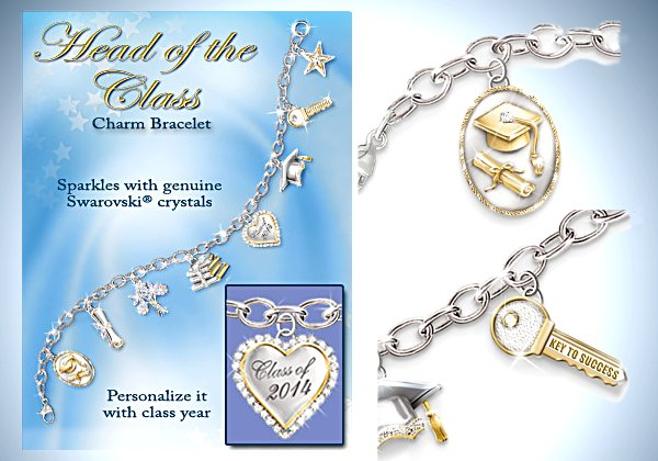 Head Of The Class Charm Bracelet: Graduation Jewelry Gift For Her - detail
