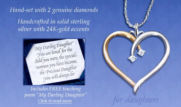 Heart-Shaped Diamond Pendant Necklace: My Darling Daughter - info