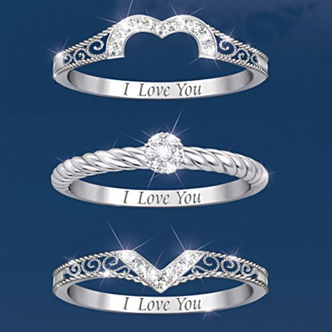 I Love You - Heart-Shaped Diamond Stacking Rings