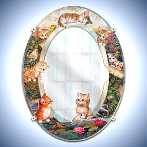 Jurgen Scholz 'Purr-fect Reflections' Kitten Mirror Wall Decor For Cat Lovers