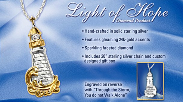 Light Of Hope Diamond Lighthouse Pendant Necklace