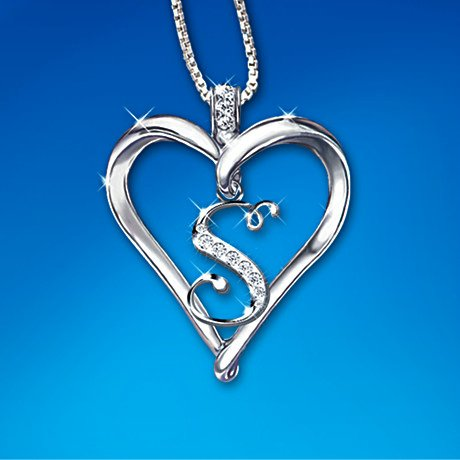 Love Letter Heart Shaped Diamond Initial Pendant