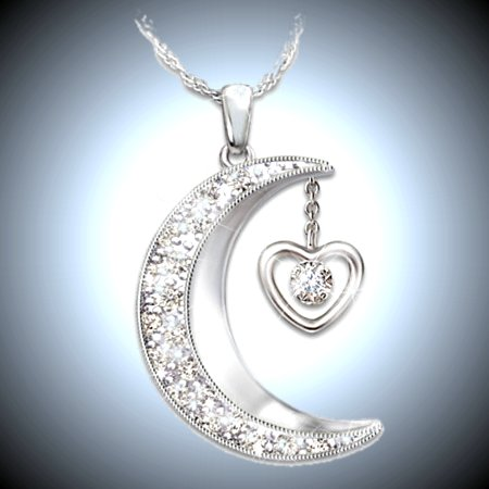 Women's Necklace: Love To The Moon And Back Diamond Pendant Necklace