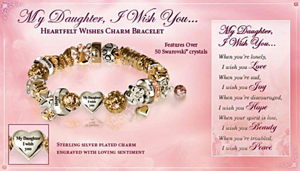 Heartfelt Wishes Swarovski Crystal Daughter Charm Bracelet