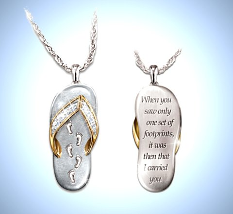 My Dear Granddaughter's Footprints In The Sand Crystal Pendant Necklace
