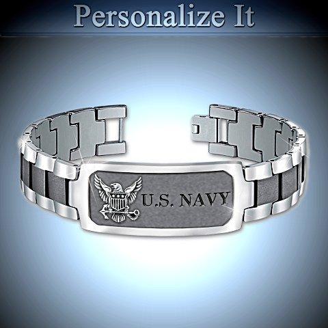 Navy Pride Personalized Men's Stainless Steel ID Bracelet