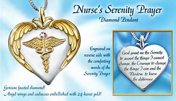 Nurse's Serenity Prayer Diamond Pendant