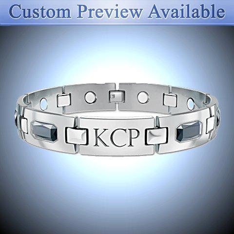 Optimum Personalized Men's Titanium Magnetic ID Bracelet