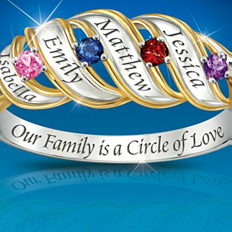 Our Family Is A Circle Of Love: Sterling Silver Personalized Birthstone Ring -detail