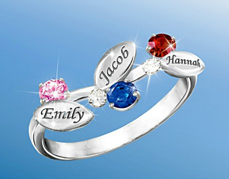 Our Family Of Love - Personalized Birthstone Ring - 3 Birthstones