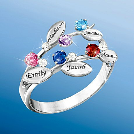 Our Family Of Love - Personalized Birthstone Ring - 5 Birthstones