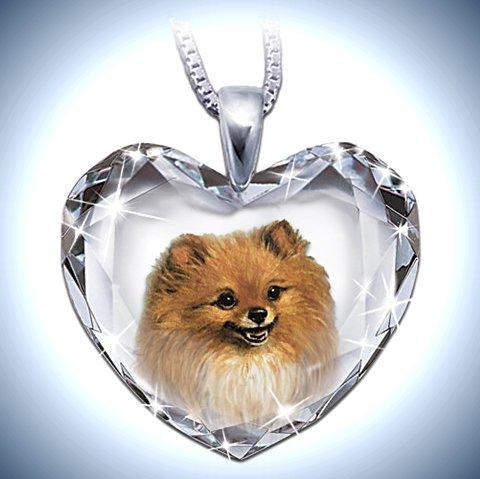 Heart-Shaped Crystal Dog Pendant Necklace: Pomeranian, Close To My Heart