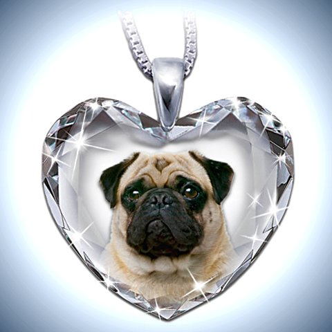 Heart-Shaped Crystal Dog Pendant Necklace: Pug, Close To My Heart