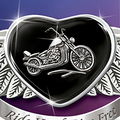 Ride Hard, Live Free Engraved Sterling Silver Ladies Motorcycle Ring