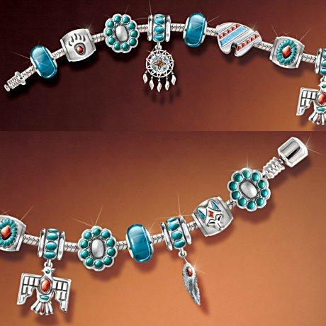 Native American Inspired Sacred Spirits Charm Bracelet With Southwestern Motif
