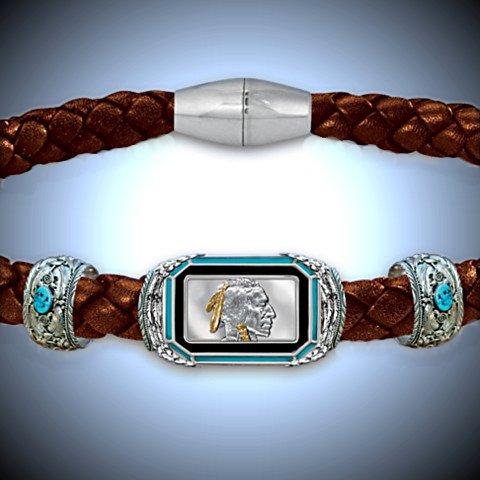The Indian Head Ingot Men's Leather Bracelet - Detail
