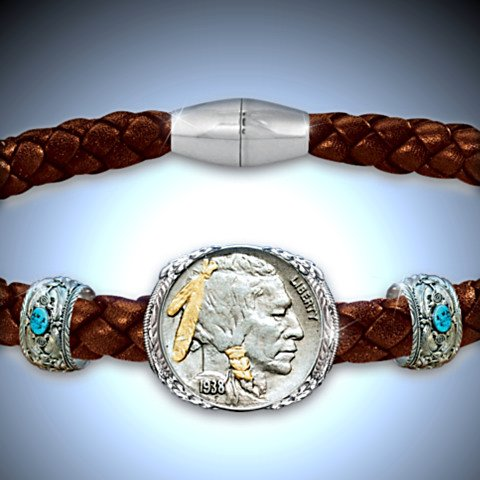 The Indian Head Nickel Men's Leather Bracelet - Detail