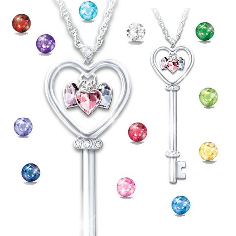 The Key To A Mother's Heart Personalized Birthstone Pendant Necklace - Birthstones