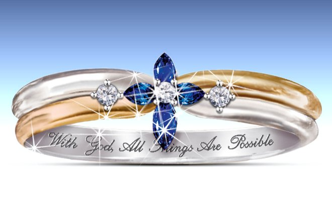The Trinity - Sapphire And Diamond Cross Women's Ring: Engraved Religious Jewelry