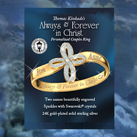 Thomas Kinkade Personalized Religious Couples Ring: Always and Forever In Christ