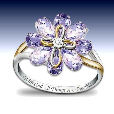 Thomas Kinkade - Blossom Of Faith - Amethyst And Diamond Ring