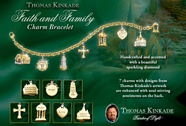 Thomas Kinkade Faith And Family Religious Charm Bracelet Gold-Plated Jewelry