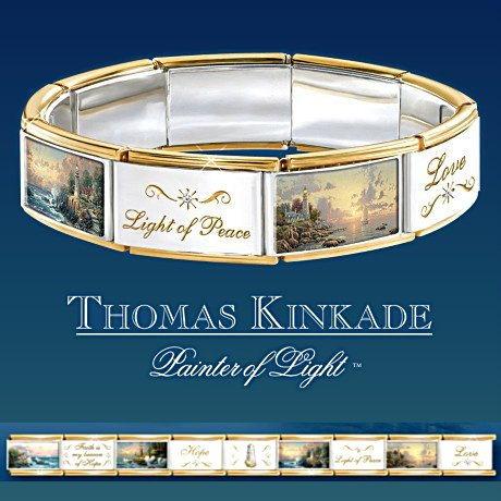 Thomas Kinkade Hope Lights The Way Italian Charm Bracelet With Swarovski Crystals