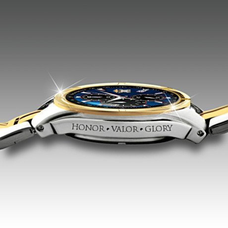 Commemorative U.S. Navy Men's Chronograph Watch - side view