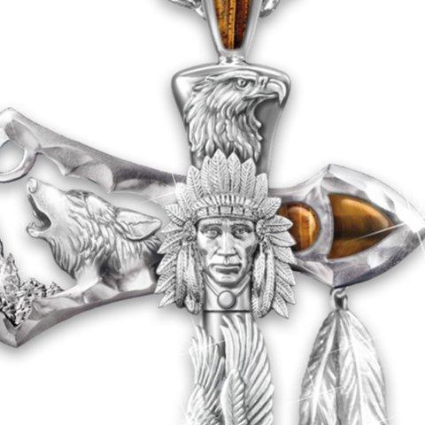 Men's Necklace: Warrior Spirits Pendant Necklace - detail