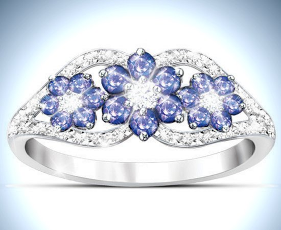 Women's Ring: African Violets Tanzanite And Diamond Ring
