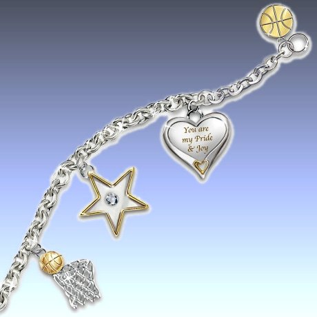You Are My Pride & Joy Heart Shaped Sports Charm Bracelet With Swarovski Crystal - right