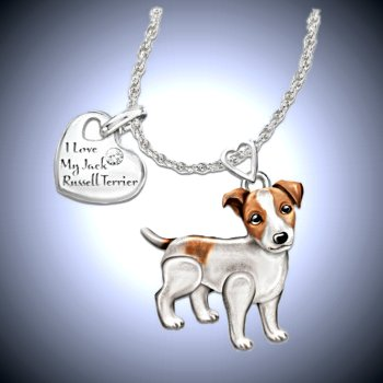 Dog Lovers Diamond Pendant Necklace: Playful Pup - Russell Terrier
